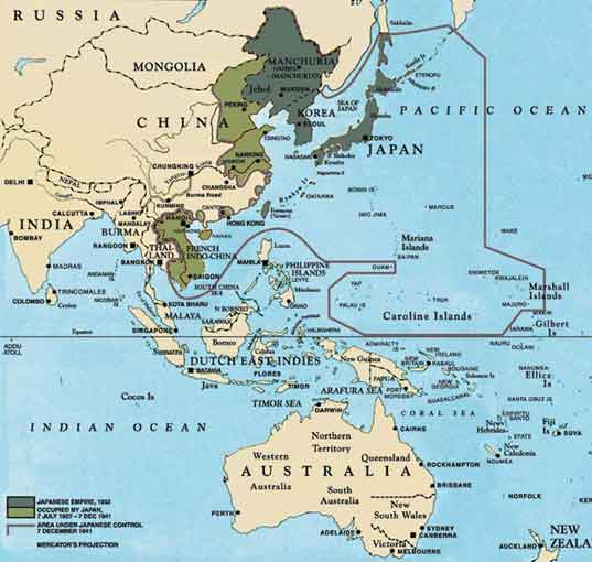 Map of the extent of the Japanese Empire before the bombing of Pearl Harbor.