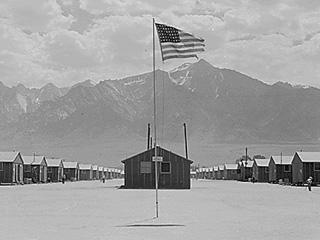 Photograph of the Manzanar Internment Camp in Southern California.
