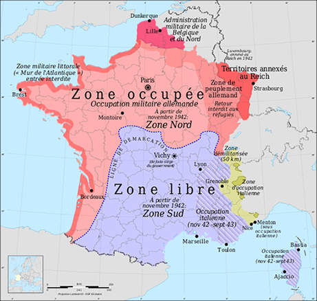 Map of French Occupation