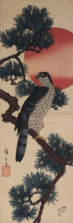 An ancient painting of a hawk in a pine tree that faces forward but is looking backward.